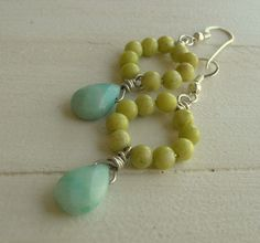 Amazonite drop earrings country cottage chic by 3DivasStudio, $28.00