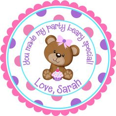 Cupcake Cutie Teddy Bear Personalized Stickers  Party by partyINK, $6.00