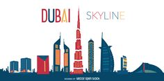 Modern illustration featuring Dubai skyline with silhouettes of its classic buildings and cultural landmarks. Perfect for travel agencies, banners,
