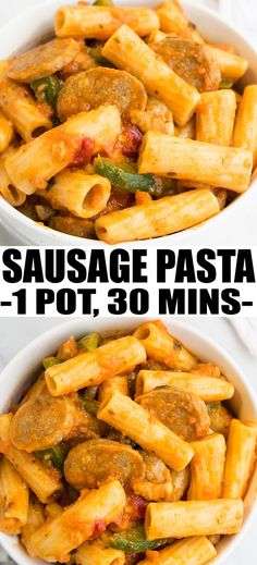SAUSAGE PASTA- Quick and easy instant pot sausage pasta recipe that makes a simple 30 minute weeknight meal. It's spicy and packed with tomato sauce, Italian flavors and sausages. From OnePotRecipes.com #dinner #sausage #pasta #dinnertime #dinnerrecipes #30minutemeal #instantpot #onepot