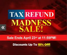 Tax Refund Madness Sale! Stop by our website to check it out! Sale ends on April 23rd at 11:59pm! Repin! #Sale #KitchenCabinets