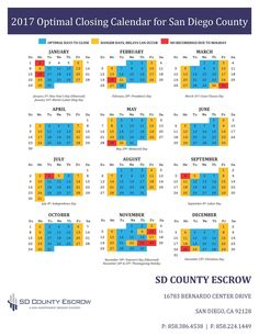 2017 Optimal Closing Calendar for San Diego County Closing Costs, Closer, San Diego, Calendar, Real Estate, Real Estates, Life Planner