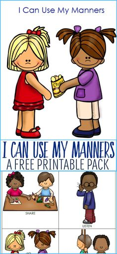 Working on social skills with your young child or child on the autism spectrum? Be sure to check out this free manners printable pack.