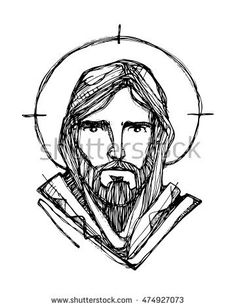 Hand drawn vector illustration or drawing of Jesus Christ face Religious Pictures, Jesus Pictures, Catholic Art, Religious Art, Gabriel Jesus, Jesus Drawings, Jesus Face, Cross Art, Scripture Art