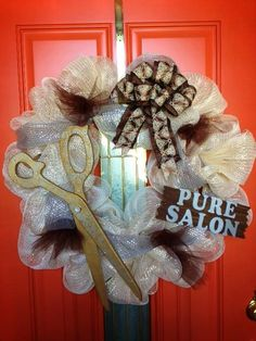 Hair Salon & Spa - Beautiful, Elegant, Ivory, Gold, Silver, Brown - Deco Mesh Wreath on Etsy, $65.00