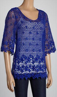 Blue Jewel Crocheted V-Neck Top