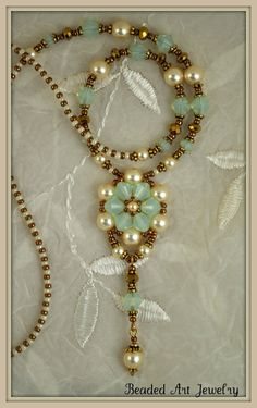Crystal and Pearl Flower Necklace Beadwoven, Beaded, Beadwork