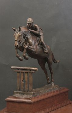 Mary Sand Studio- Bronze hunter sculpture commissioned to serve as trophy for Michigan Hunter Jumper Association Horse Sculpture, Animal Sculptures, Abstract Sculpture, Bronze Sculpture, Metal Sculptures, Horse Galloping, Equestrian Decor, Pottery Sculpture, Equine Art