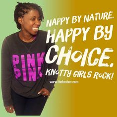 """Nappy by nature. Happy by choice. Knotty girls ROCK!"" ##locjourney #locs #bigchop #teamlocs #hairstyles #hair #naturalhair #dreadlocks #dreads #dreadlove #kinkyhair #coily #kinks #coils #naturalhaircommunity #melanin #teamdreads #womenwithlocs #naturalhairdaily #nhdaily #locnationthemovement #locnation #dreadnation #loccommunity #loclove #naturalistas #loctician #picoftheday #gettouchedbythelocdoc #thelocdoc"