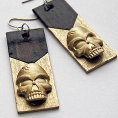 Learn how to make these glamorous Goth Skull Earrings for cheap. Check it out!