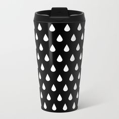 White Rain Travel Mug by laurafrere Graphic, Travel Mug, Rain, Mugs, Patterns, Coffee, Tableware, Rain Fall, Block Prints
