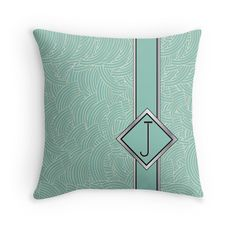 1920s Blue Deco Swing with Monogrammed throw pillows | alphabet monogram initial letter j | by CecelyBloom