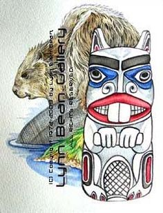 LYNN BEAN ART GALLERY and STORE: ART, APPAREL, FIGURINES and JEWELRY for sale by Trail of Painted Ponies™ Artist, LYNN BEAN : NATIVE AMERICAN, NORTHWEST : Totem Beaver