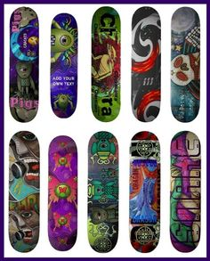 Laura Barbosa...Skateboard Art   http://laurabarbosa.files.wordpress.com/2012/02/skateboard-examples.jpg?w=450=559