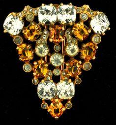 Vtg Early Eisenberg Topaz Crystal Rhinestone Fur Dress Clip Brooch Pin | eBay