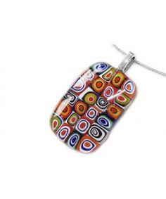Kleurrijke multicolor glashanger met millefiori cirkels!