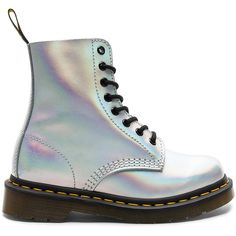 Dr. Martens Pascal IM Boot (€96) ❤ liked on Polyvore featuring shoes, boots, ankle booties, ankle boots, bootie boots, metallic booties, rubber sole ankle boots, laced up boots and laced ankle boots