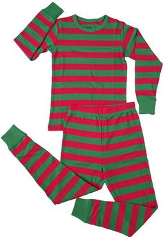 1e70bcb0c4 Amazon.com  Leveret Boys Girls Red  amp  White Green 2 Piece Pajama (