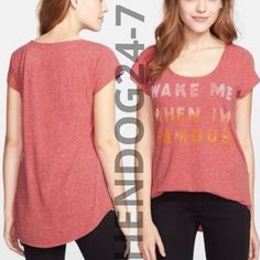 LUCKY BRAND WAKE ME WHEN I'M FAMOUS WOMEN'S SCOOP NECK SHORT SLEEVES TEE SZ S #LuckyBrand #GraphicTee