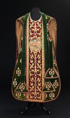 Vestment, 1675-99, Italian.Ecclesiastical garments were meant to contribute to the sense of mystery and awe associated with worship; this beautifully crafted chasuble exemplifies that practice. @ The Met, click on picture for other views.