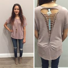 We are loving the unique back of this dusty rose tee! - $30 #winterfashion #winter  #fashionista #shoplocal #aldm #apricotlaneboutique #apricotlanedesmoines #shopaldm #desmoines #valleywestmall #fashion #apricotlane #newarrival #sweaterweather #shopalb  #ootd #westdesmoines  #shopapricotlaneboutiquedesmoines #ontrend
