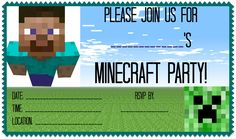 Minecraft Birthday Party- with free printable invtites and thank yous and lots of ideas for games!