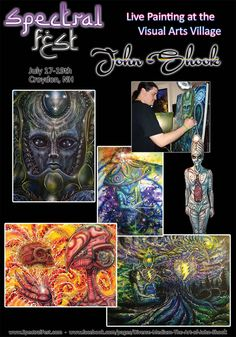 John Shook is air brush artist from Pittsburg we are lucky to have joining the Visual Arts Village. His work has come to fine acclaim at COSM shows and now will be coming with him to Spectral Fest this July 17-19th, 2015.  Meet him there or see more of his work at www.SpectralFest.com, www.facebook.com/SpectralSpiritFest or  www.facebook.com/pages/Diverse-Medium-The-Art-of-John-Shook/ #spectralfest, #spectralexperience