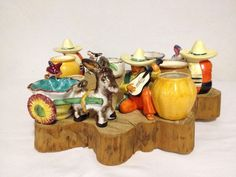 :D❤️7 Small Mexican Planters Mixed Lot W/Some Occupied Japan Sombrero's & Donkey's