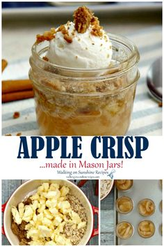 Mason Jar Apple Crisps are as cute as they are delicious! Grab a few mason jars and bake this recipe as a single-serving treat that everyone will love from Walking on Sunshine Recipes. Mason Jar Deserts, Mason Jar Cakes, Mason Jar Meals, Meals In A Jar, Mason Jars, Dessert Simple, Dessert In A Jar, Easy Desserts, Dessert Recipes