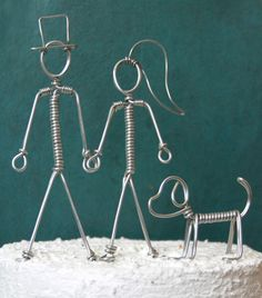 Wire Couple with Dog Wedding Cake Topper