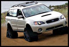 Subaru Legacy Outback Wagon on tracks