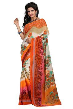 Sagun Faux Georgette Printed Saree ,Colour - Orange - Sagun Fashion Sarees for indian woman