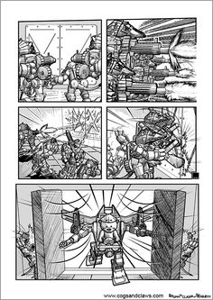 Cs&Cs wordless webcomic page 2000ad, Rocket Raccoon, Teddybear, Cogs, Tmnt, Gundam, Aliens, Starwars, Robot