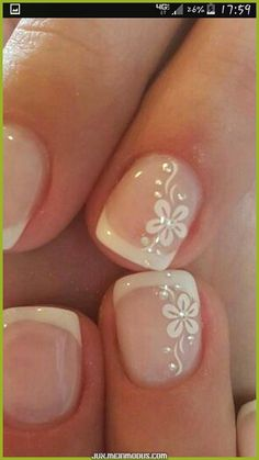 65 Beautiful Nail Art Designs 65 Beautiful Nail Art Designs <br> Are you ready to book your next manicure, if not then this is the perfect … French Nail Designs, Toe Nail Designs, French Manicure With Design, French Pedicure, Nail Art Flowers Designs, French Nails, French Manicures, Wedding Nails Design, Wedding Pedicure