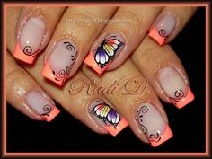 Loving this design and that color orange but they need time color coordinate a little better with the beautiful butterfly nail art Get Nails, Fancy Nails, Pretty Nails, French Nail Art, French Tip Nails, French Toes, Fingernail Designs, Toe Nail Designs, Butterfly Nail Designs