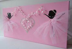Arte de la pared rosa bailarina. Lona 12 X 24. por FlorasShop