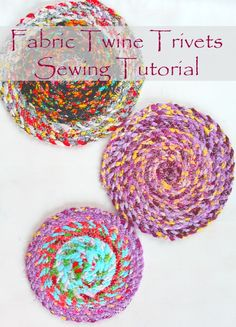 FABRIC TWINE TRIVETS SEWING TUTORIAL - Got scraps? Then this project is perfect for you! This fabric twine trivets sewing tutorial is a great beginner project because it's so quick and easy to make.