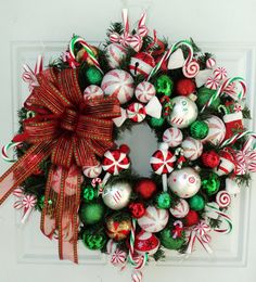 Peppermint Candy Cane Christmas Wreath Red by ViennaSparkleWreaths, $149.00