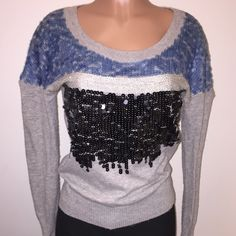 Sparkle/Sequin holiday sweater KITSON|LA or LF(I purchased this at one of those two places)Sweewë Paris• size M/L• grey cashmere base with 3 front layers of sequins: black, blue & silver.. Different shapes & sizes per layer• this is the perfect winter or holiday sweater, I adore it. But I've already worn it a few times & have photos in it Excellent condition• selling AS IS• worn a few times, basic wear...nothing major wrong with it. It's absolutely stunning & guaranteed no one else will be…