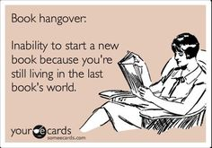 The definition of a book hangover and more sarcastic humor perfect for book lovers.