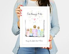 My Nanny and me print Mother's Day gift Grandchildren Gifts For Mum, Sister Gifts, Home Gifts, Mother Day Gifts, Button Family Picture, Family Picture Frames, Personalized Housewarming Gifts, Mum Birthday Gift, Family Print
