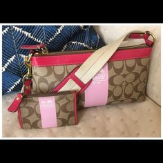 Coach Pink Heritage Stripe Bag/Mini Skinny Excellent condition small bag from Coach! The Heritage Stripe with signature C coated canvas trimmed in pink leather, with small strap. Zipper closure to keep all of your essentials secure as well as a inner zip pocket & 2 pockets to keep your lip gloss, keys, & mirror handy! Also included, the matching mini skinny coin purse/wallet/keychain! There is one tiny mark in the gusset of the skinny-not noticeable A sweet little addition for spring…