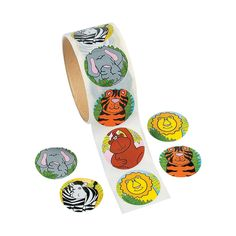 "$2.55 for 100, 1.5"" - Zoo Animal Roll of Stickers - OrientalTrading.com"
