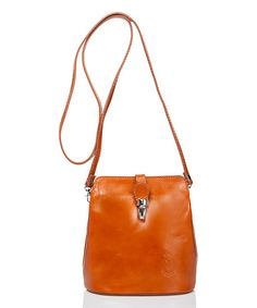 Take a look at this Massimo Castelli Cognac Push-Lock Leather Crossbody Bag today!