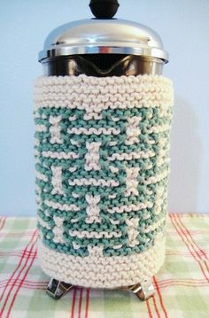 French Press Coffee Cozy BlueGreen and Cream by CozyKitchenKnits, $18.00