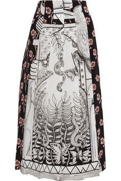 Gucci - Pleated Printed Silk Crepe De Chine Midi Skirt - Gray - IT46