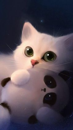 Cats and kittens, white kittens, kittens cutest, cute cat wallpaper, mobile wallpaper Cat Phone Wallpaper, Cute Panda Wallpaper, Mobile Wallpaper, Wallpaper Ideas, Chat Kawaii, Kawaii Cat, Panda Wallpapers, Cute Cartoon Wallpapers, Phone Wallpapers