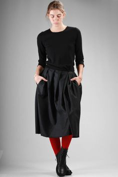 Daniela Gregis | calf-length dress with knitted wool bodice and pleated wool cloth skirt