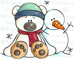 Bear and Snowman - Snowmen Images - Snowmen - Rubber Stamps - Shop