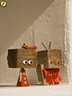 . Wooden Art, Wooden Crafts, Metal Crafts, Recycled Robot, Recycled Art, Small Wood Projects, Craft Projects, Cute Crafts, Diy And Crafts